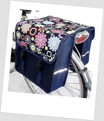 TJ-C-17 Fahrradtasche JENNY CLASSIC Flower Navy Satteltasche Gepäckträgertasche 2 x 14 Liter