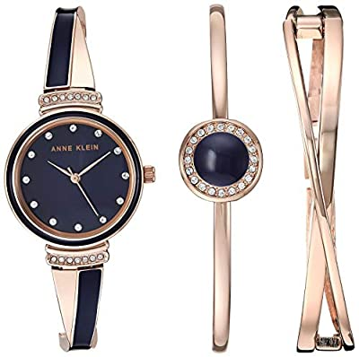 Anne Klein Women's Swarovski Crystal Accented Watch and Bangle Set