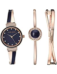 Women's AK/3292NVST Swarovski Crystal Accented Rose Gold-Tone and Navy Blue Watch and Bangle Set