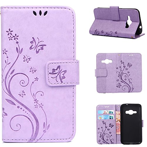J1 2016 Case, Galaxy Amp 2 Case, Galaxy Express 3 /Luna Case,Harryshell(TM) Flower PU Wallet Leather Protective Case Cover with Card Slots for Samsung Galaxy J1 2016/ Amp 2/Express 3/Luna (Luma Wallet)