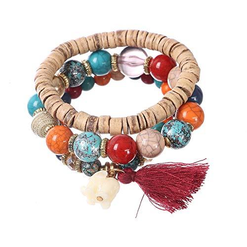 OASIS LAND Bohemian Jewelry Crystal Beaded Elephant Tassel Pendant Multi-Piece Combination Elastic Bracelet Female Jewelry ()