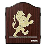 Winmau dark wood faced Darts cabinet with Golden Lion