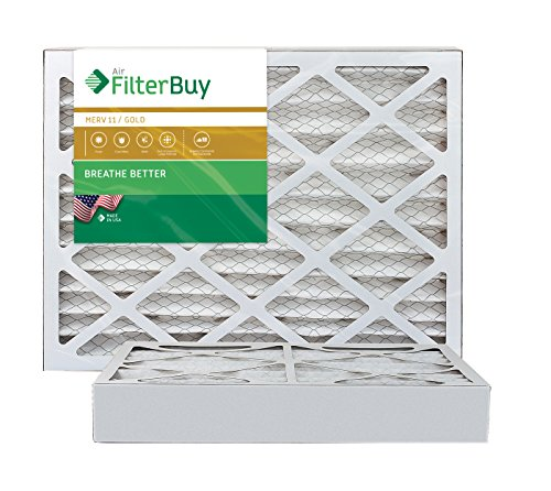 AFB Gold MERV 11 12x20x4 Pleated AC Furnace Air Filter. Pack of 2 Filters. 100% produced in the USA.