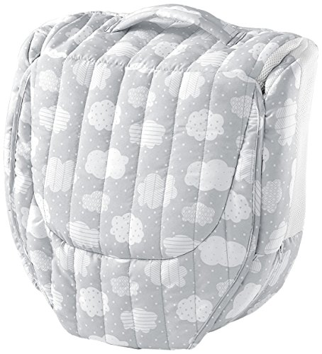 Baby Delight Snuggle Nest Harmony Portable Infant Sleeper Baby Bed - Silver Clouds, Travel Bassinet and Co-sleeper with breathable mesh walls, with soothing sound, light and incline wedge