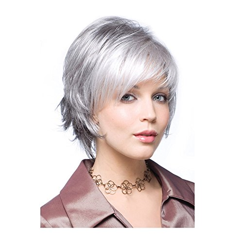 Beauty : LEJIMEI Short Straight Wigs with Bangs Silver Grey Synthetic Hair Wigs for Older Women Daily Use Fashion Full Wig + Wig Cap