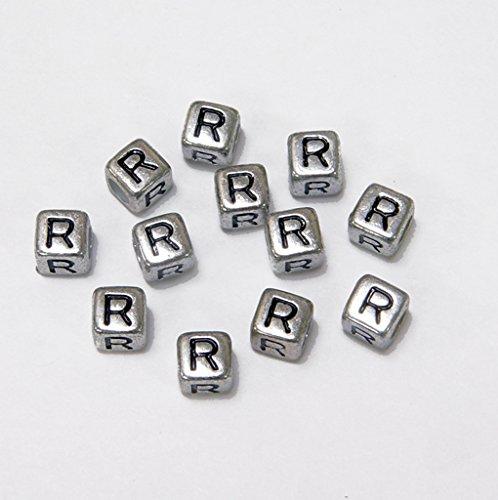 JOLLY STORE Crafts 6mm Silver Metallic Alphabet Beads