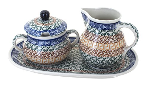 Polish Pottery Athena Large Sugar & Creamer Set with (Athena Creamer)