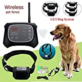 TDC Wireless Electric Pet Dog Fence Containment System Waterproof Transmitter Collar (2 dog system)