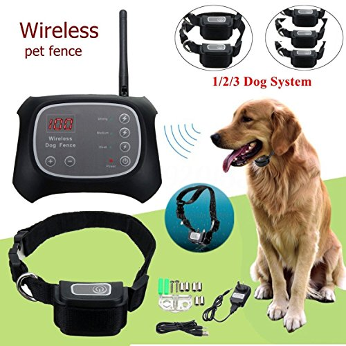 TDC Wireless Electric Pet Dog Fence Containment System Waterproof Transmitter Collar (2 dog system) by TDC