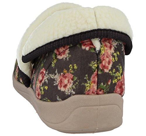 Ladies Dunlop Floral Rose Warm Faux Fur Sheepskin Wool Comfort Slipper Boots Size 4-8 Mocha XPvJ3