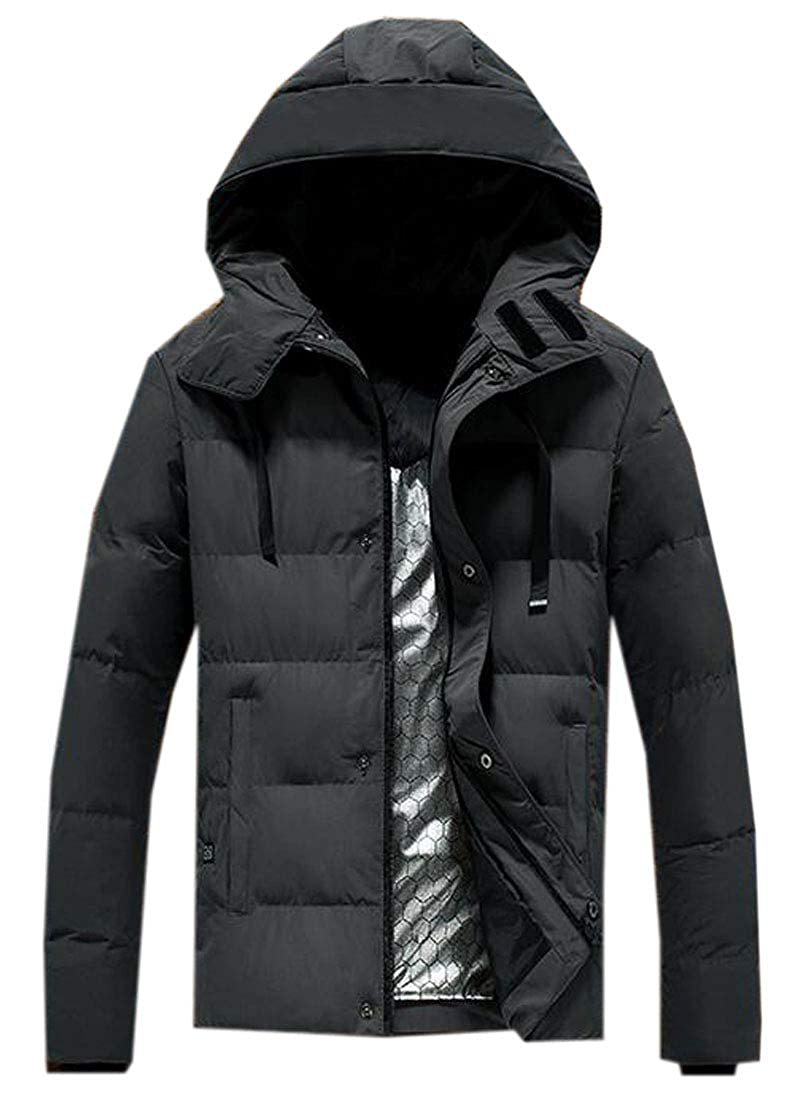 ARTFFEL Mens Hoodie Thick Plus Size Winter Down Quilted Jacket Coat Outwear