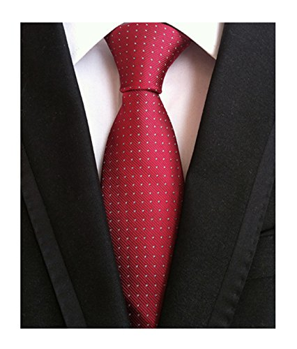 Mens Big Boy Solid Cherry Red Tie with White Pin Dot Summer Woven Formal Necktie (Dot Formal Pin)