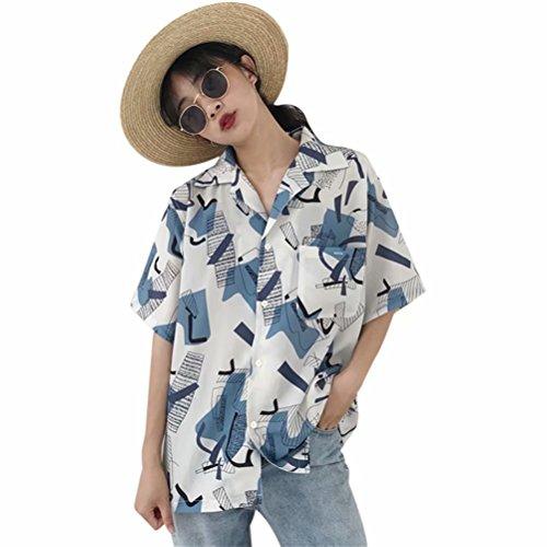 アッパーノイズ小康ハワイシャツ レディース アロハシャツ 幾何 プリント シャツ ブラウス ワイシャツ 夏 半袖 薄手 ビーチ ゆったり カジュアル