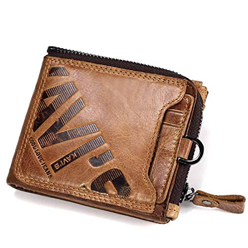 - Dig dog bone Zipper Bag Letter Printed Character Both Men and Women Wallet Pocket Wallet Security Leak Proof Brief Paragraph. (Color : Brown)