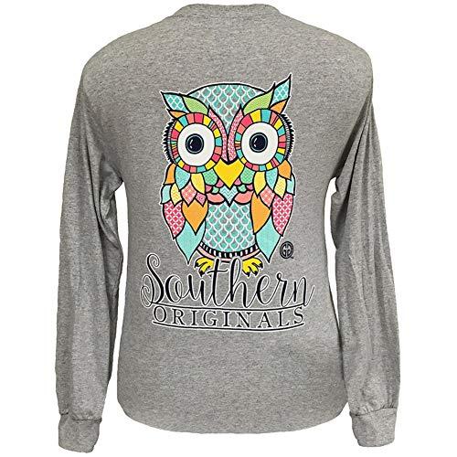 Preppy Owl Long Sleeve Sport Grey