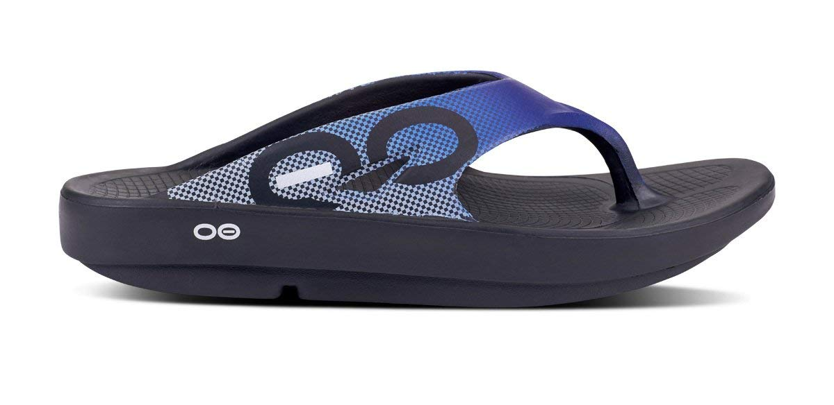 OOFOS - Unisex Ooriginal Sport - Post Run Recovery Thong Sandal (10 Women/8 Men, Blue Grid)