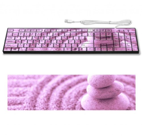 Stack Stone And Sand Zen Circular Pattern Keyboard Customized Made to Order Support Ready 16 7/8 inch (430mm) x 4 7/8 inch (125mm) x 15/16 inch (25mm) High Quality Liil Key board Boards desktop laptop Key_board comfortable computer accessories cute gaming gear