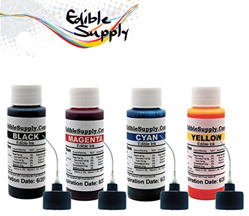 Edible Supply 2 oz BK/C/M/Y Edible Ink Refill Bottle Combo for All Epson Printer