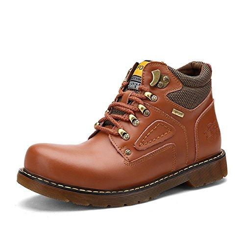 TMKOO Autunno nuova tendenza casuale Martin stivali utensili stivali militari stivali alti utensili da uomo scarpe aumentate Light Brown
