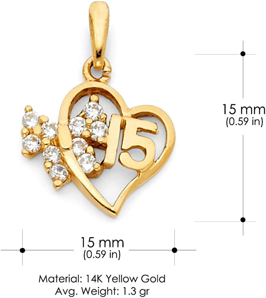 14K Yellow Gold Sweet 15 Years Quinceanera Heart Cubic Zirconia CZ Charm Pendant with 1.5mm Valentino Chain Necklace