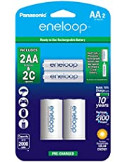 """Panasonic K-KJS2MCA2BA eneloop AA NEW 2100 Cycle, Ni-MH Pre-Charged Rechargeable Batteries, 2 Pack with 2 """"C"""" Spacers"""