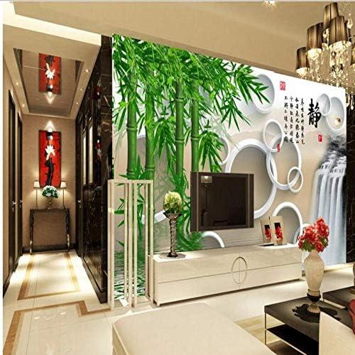 Ljjlm カスタム大規模壁画リビングルーム3Dサークル緑竹背景壁不織布壁紙Papel De Parede-280X200Cm