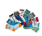 Boys Short Socks Fashion Strip Plane Cotton Basic Crew Kids Socks 10 Pair Pack
