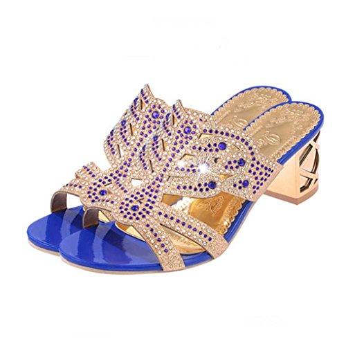 Malloom® Frauen Strass Hausschuhe Für Frauen Mode Offene Zehe Schuhe Bohemia Heels Wort Mode Strass Wild Dick mit Frauen Hausschuhe Blau