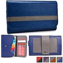 Cooper Cases(TM) Belt Clutch Universal Samsung Galaxy E5 / Grand / Grand Neo / J5 Smartphone Wallet Case in Blue & Grey (Belt Mount Strap; Credit Card/ID Slots, Slip Pocket; Dual-Tone Design)