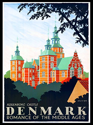 A SLICE IN TIME Denmark Danish Rosenborg Castle Europe Vintage Travel Art Advertisement Collectible Wall Decor Poster Print. Measures 10 x 13.5 inches
