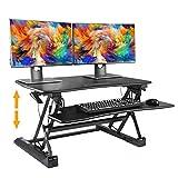 Standing Desk Height Adjustable Sit Stand Up Desk Riser Stand Fits Dual Monitors Adjustable Standing Desk Converter Topper Black 36'' x 31'' (Black) (1 Sets)
