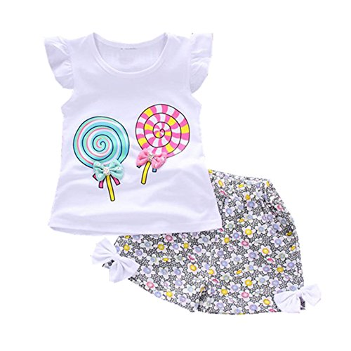 Toddler Baby Girls Summer Clothing Sets Candy Pattern Clothes Set Kids Fashion Sport Suit Set(White,12M)