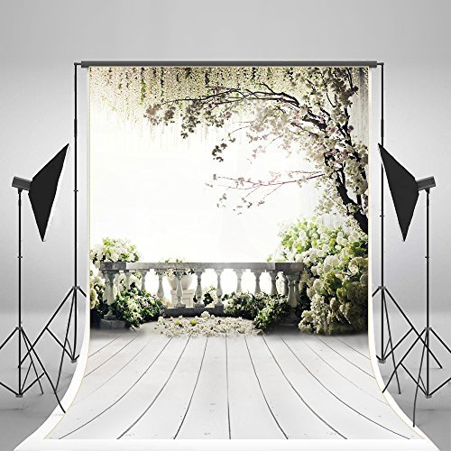 Kate 10x15ft Digital Photography Backdrops Brick Floor White Flowers Background Natural Scenery For wedding Photo Studio Backdrop by Kate