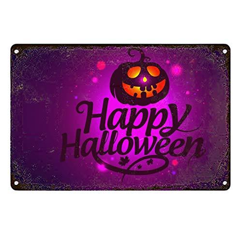 Purple Happy Halloween Metal Aluminum Sign Wall Plaque for Cafe Beer Club Wall Home Decor 20X30CM (Happy Halloween Plaque)