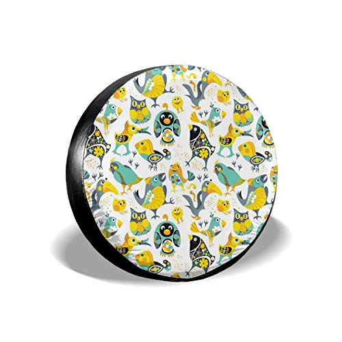 Spare Tire Cover, Different Birds Printing Wheel Protectors PVC Waterproof Dustproof for Jeep Trailer SUV RV and Many Vehicles(14,15,16,17 Inch)]()