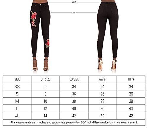 Waist Black High Rose Vaqueros para mujer LustyChic skinny wRxSzqFC0