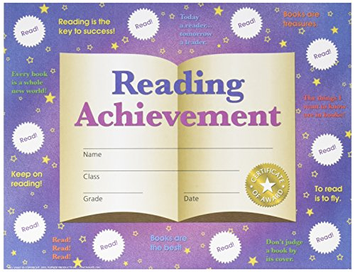 HAYES SCHOOL PUBLISHING VA807 Reading Achievement Stick-To-It Reward Certificate, 8-1/2