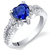 Created Blue Sapphire Sterling Silver Heart Soulmate Ring Size 7