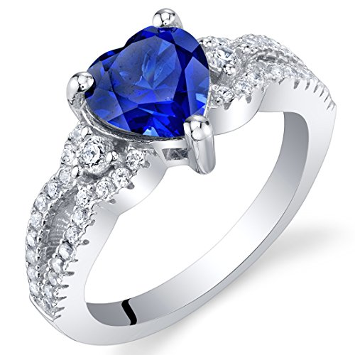 (Created Blue Sapphire Sterling Silver Heart Soulmate Ring Size 5)