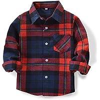 OCHENTA Little Big Boys' Long Sleeve Button Down Plaid Shirt