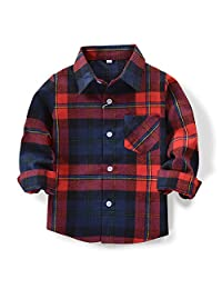 Phorecys Baby's Boys' Girls' Long Sleeve Button Down Plaid Flannel Fashionable Shirt G007 Blue Red Tag 90CM - 24M