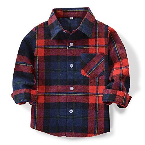 OCHENTA Boys' Long Sleeve Button Down Plaid Flannel Shirt E0