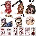 Halloween Headband, 6PCS Bloody Headpieces Headwear Cleaver Through Head Bleeding Knife Headband Accessories Horrible Dress-up Costume Funny Prop, 18PCS Halloween tattoo sticker, Halloween Favors