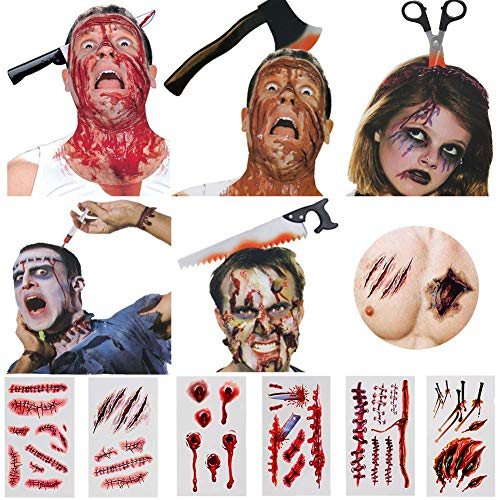 Halloween Headband, 6PCS Bloody Headpieces Headwear Cleaver Through Head Bleeding Knife Headband Accessories Horrible Dress-up Costume Funny Prop, 18PCS Halloween tattoo sticker, Halloween Favors -