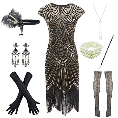 Women 1920s Vintage Flapper Fringe Beaded Gatsby Party Dress with 20s Accessories Set (3XL, Black Gold) -