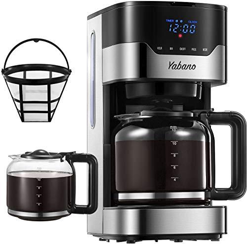 Yabano Cafetera Goteo, 1.5L(12 Tazas) Cafetera con Filtro Reutilizable, Digital con Pantalla LCD, Temporizador…