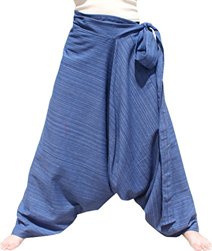 Hill Tie - Raan Pah Muang RaanPahMuang Mixed Cotton Mao Hill Tribe Pants Side Tie, Medium, Striped Cotton - Yale Blue