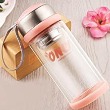 HOMEJU Tea Infuser & Cold Brew Coffee Maker - Travel Mug for Coffee,Loose Leaf Tea Infusers & Fruit Filter - Glass Water Bottle (11oz) and Free Send Bottle Brush