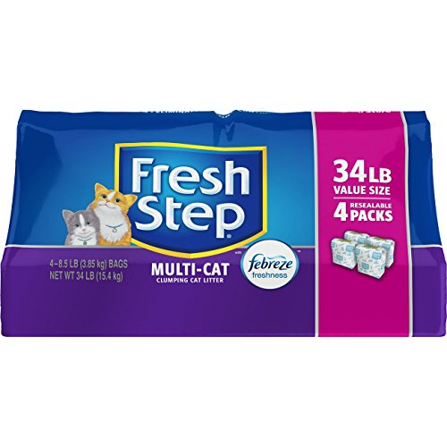 Fresh Step 31601 Multi-Cat with Febreze Freshness, Clumping Cat Litter, Scented, 34 Pounds