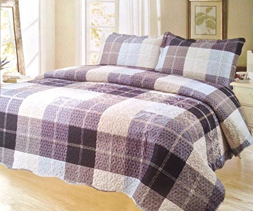 Pinsonic Plaid Bedding 3 Piece Bedspread Quilt Coverlet Set, King, Dream Sky by sazana